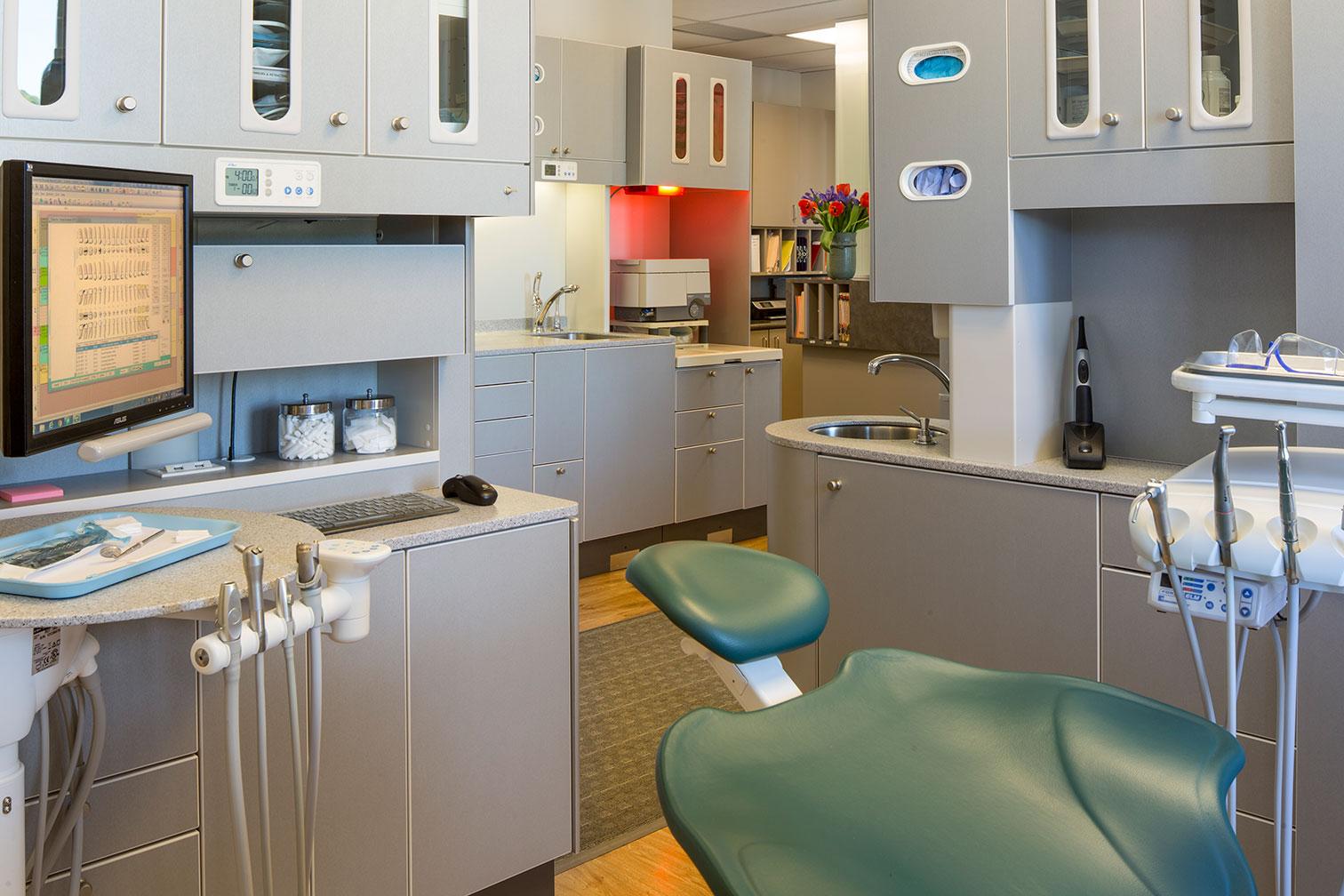 Dentist Office Examination Room, Hallway and Lobby