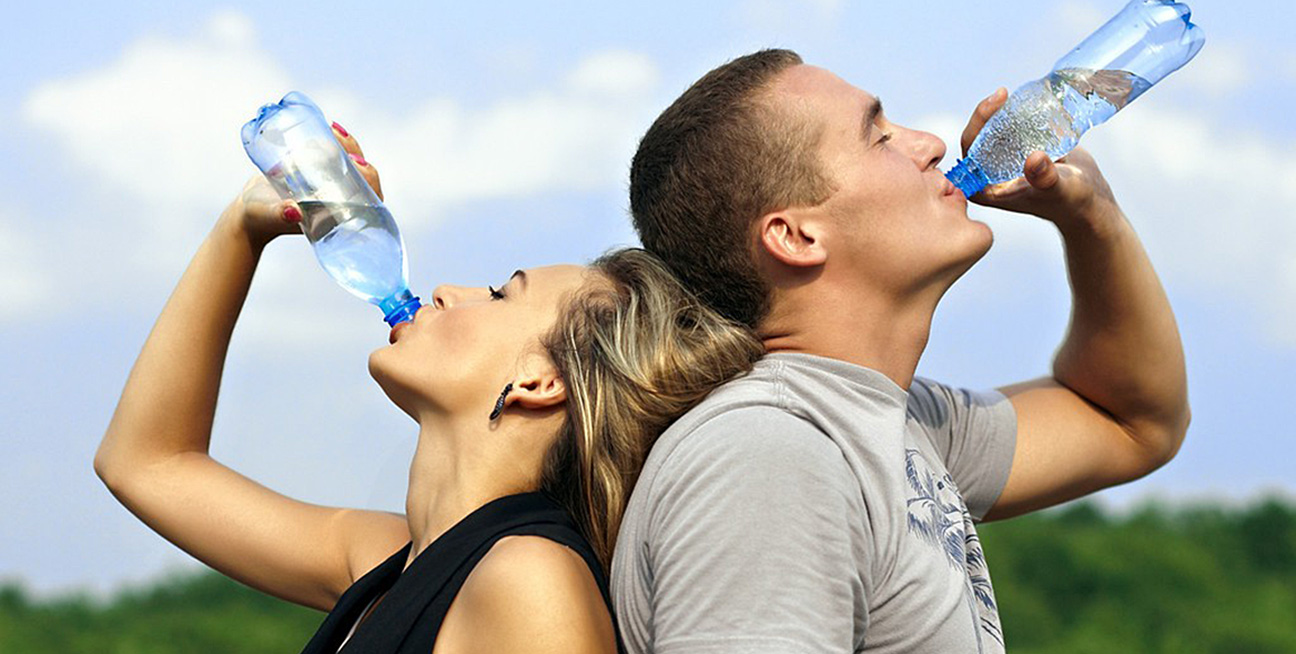 Couple Drinking Sparkling Water